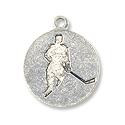 Hockey Player Charm 14x17mm Pewter Antique Silver Charm (1-Pc)