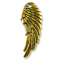 Wing Charm 27x10mm Pewter Antique Gold Plated (1-Pc)