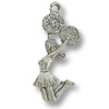 Cheerleading Charm - 25x10mm Pewter Antique Silver Plated (1-Pc)