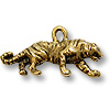 Charm - Tiger 9x23mm Pewter Antique Gold Plated (1-Pc)