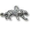 Charm - Tiger 9x23mm Pewter Antique Silver Plated (1-Pc)