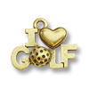 Charm - I Love Golf 11x17mm Pewter Antique Gold Plated (1-Pc)