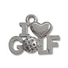 Charm - I Love Golf 11x17mm Pewter Antique Silver Plated (1-Pc)