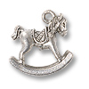 Charm - Rocking Horse 15x16mm Pewter Antique Silver Plated (1-Pc)