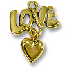 Charm - Love with Heart 20x16mm Pewter Antique Gold Plated (1-Pc)