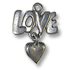 Charm - Love with Heart 20x16mm Pewter Antique Silver Plated (1-Pc)
