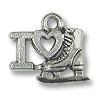 Charm - I Love Ice Skating 10x14mm Pewter Antique Silver Plated (1-Pc)
