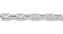 Rectangular Rolo Link Chain 3mm Silver Plated (Priced per Foot)
