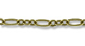 Figaro Chain 2.5mm Antique Brass Plated (Priced per Foot)