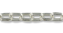Double Cable Link Chain 6x4mm Silver Plated (Priced per Foot)