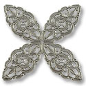 Connector - Filigree Clover 48mm Silver Plated (1-Pc)