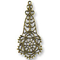 Connector - Filigree Drop 45x19mm Antique Brass Plated (1-Pc)