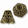 Cone - Spiral 9x9mm Pewter Antique Brass Plated (1-Pc)