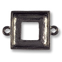 Square Ring Setting 2-Loop 14mm Pewter Gun Metal Plated (1-Pc)