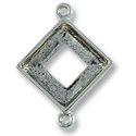 Square Ring Setting 2-Loop 14mm Pewter Antique Silver Plated (1-Pc)