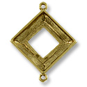 Square Ring Setting 2-Loop 20mm Pewter Antique Gold Plated (1-Pc)