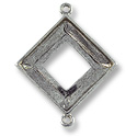 Square Ring Setting 2-Loop 20mm Pewter Antique Silver Plated (1-Pc)