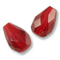 Czech Fire Polished Teardrop 10x7mm Ruby (2-Pcs)