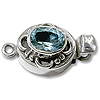 Designer Oval Clasp Single Strand w/Faceted Blue Topaz 20x11mm Sterling Silver (1-Pc)
