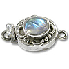 Designer Oval Clasp Single Strand w/Moonstone 20x11mm Sterling Silver (1-Pc)