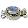 Designer Clasp with Moonstone 20mm 2-Strand Sterling Silver (1-Pc)