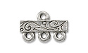 Pewter 3-Strand Scroll Vine End Bar 15x10mm Silver (1-Pc)
