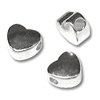 Bead Heart 6mm Sterling Silver Plated (12-Pcs)