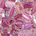 Cane Glass Beads - Pink Mix (Ounce)