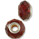 Faceted Large Hole Glass Bead 14x8mm Red (1-Pc)
