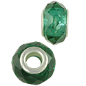 Faceted Large Hole Glass Bead 14x8mm Transparent Green (1-Pc)
