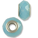 Large Hole Glass Bead 14x8mm Turquoise (1-Pc)