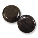 Fossilized Wood Agate Coin Beads 20mm (2-Pcs)