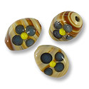 Flat Oval Lampwork Bead 10x13mm Tan with Blue Flower (1-Pc)