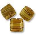 Chicklet Lampwork Bead 17mm Brown with Tan Swirls (1-Pc)