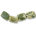 Green Cloud Jasper Rectangle Beads 16x12mm (4-Pcs)