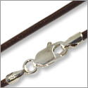 Greek Leather Cord 1.5mm Brown with Sterling Silver Clasp 16