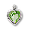 Swarovski Heart Channel 8mm Peridot Rhodium Plated (1-Pc)