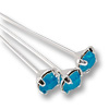 Swarovski 1-½ Inch Rhodium Plated Head Pin with 3mm Caribbean Blue Opal Chaton (2-Pcs)