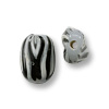 Hand Painted Glass Flat Oval Zebra Bead 9x14mm (2-Pcs)
