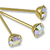 Swarovski Head Pin 1-1/2 inch Crystal AB Gold Plated (2-Pcs)