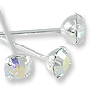 Swarovski Head Pin 1-1/2 inch 4mm Crystal AB Rhodium Plated (2-Pcs)