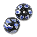 Hand Painted Glass Bead 12mm Blue (2-Pcs)