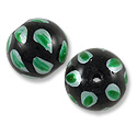 Hand Painted Glass Bead 12mm Green (2-Pcs)