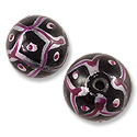 Hand Painted Glass Bead 12mm Pink (2-Pcs)