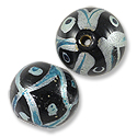 Hand Painted Glass Bead 12mm Turquoise (2-Pcs)