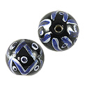 Hand Painted Glass Bead Round 12mm Blue (2-Pcs)