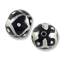 Hand Painted Glass Bead Round 12mm Silver (2-Pcs)