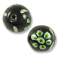 Hand Painted Glass Bead Round 12mm Green (2-Pcs)