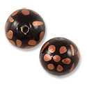 Hand Painted Glass Bead 12mm Copper (2-Pcs)