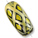 Hand Painted Glass Tube Bead 23mm x 11mm Yellow (2-Pcs)